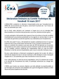 Déclaration liminaire au CT/S du 10 mars 2017