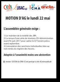 Motion d'AG 22 mai 2017