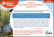Covid-19 - Pas d'annulation de congés en deçà de J-25