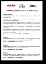 Assemblée générale révision du BO Martinique